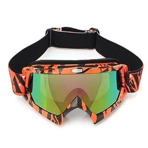 AUDEW Lunettes de Ski Protection Masque de Visage pour Extérieur Activité Moto Cross Google VTT Vélo Snowboard Anti-UV Anti-brouillard Anti-poussière Anti-Soleil Équipement Sport Hiver Loisir (U815 Len Coloré)