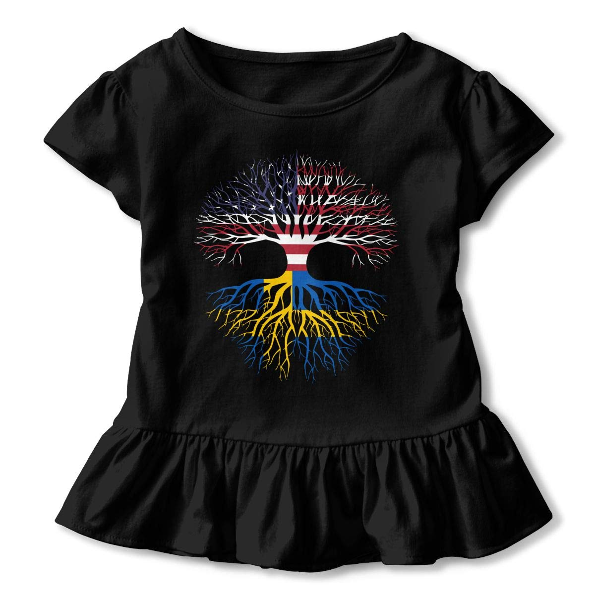 HYBDX9T Little Girls American Grown Swedish Roots Funny Short Sleeve Cotton T Shirts Basic Tops Tee Clothes