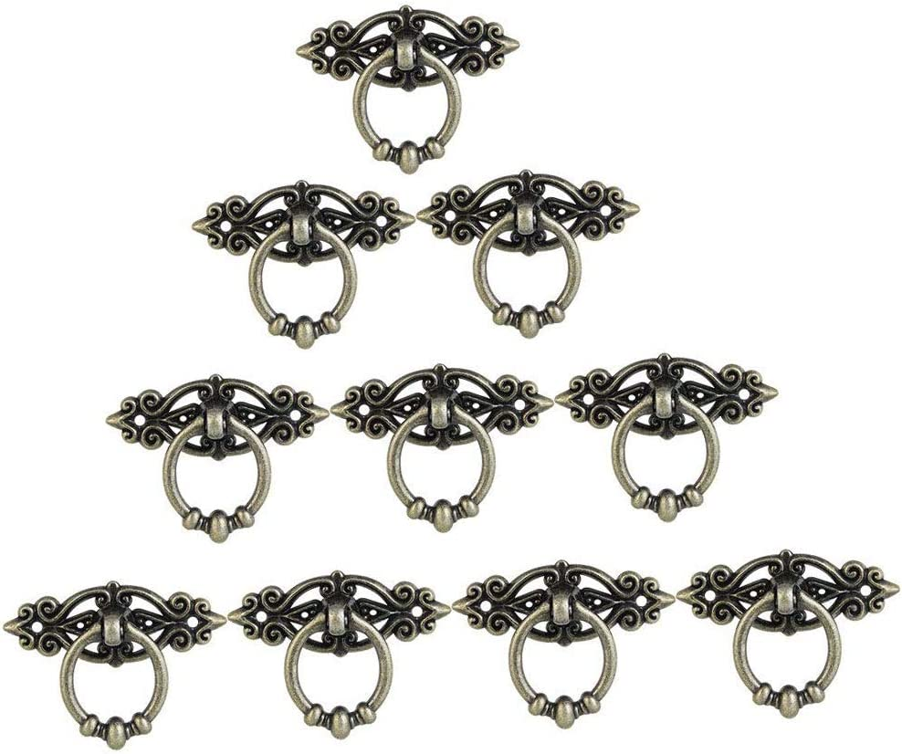 Lheng 10 Pack Antique Brass Furniture Decor Pull Ring Handle Cabinet Cupboard Dresser Ring Pulls