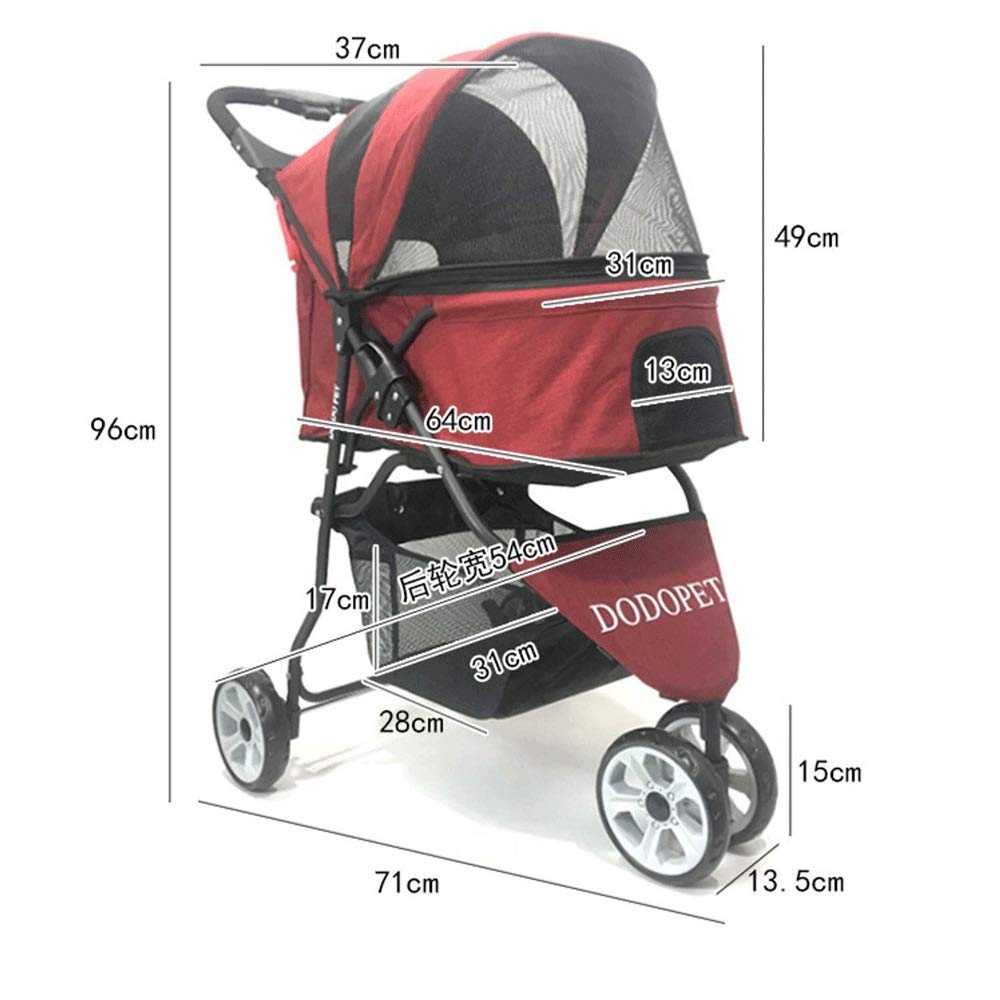 Red TYT Pets out Travel Light Folding Carts Cats and Dogs Carts Carrier Pet Strollers Pet Stroller Dogs Gram Multi-function Medium Dogs 15 Kg 3 Rounds (color   Red)