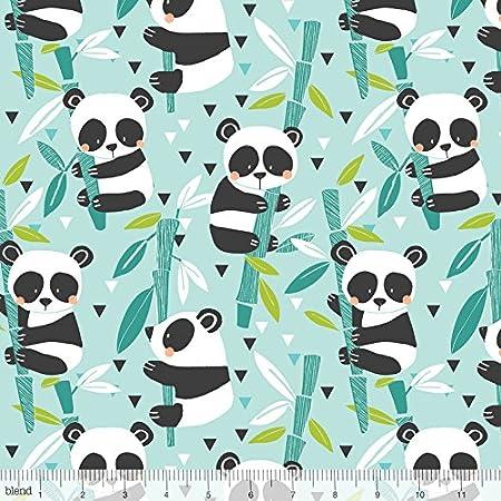 Bambú Azul Panda-Rama sobre Palos de bambú algodón Tela – Mezcla – por retales: Amazon.es: Hogar