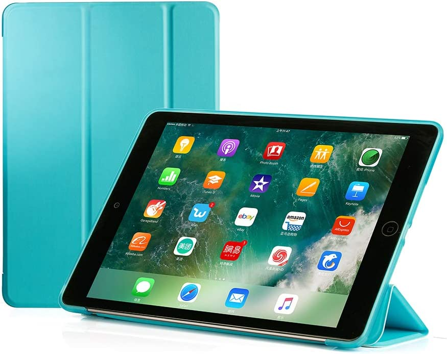 RUBAN Case Compatible with iPad (9.7-Inch, 2018/2017 Model) - Ultra Slim Lightweight Smart Shell Standing Cover with Auto Wake/Sleep Feature, Light Blue