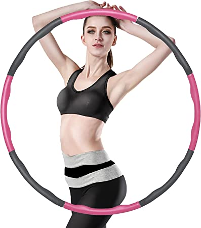 Weight Loss Useeland Weighted Hoola Hoop for Adults//kids Soft Fitness Massage Weighted Hoola hoops,8 Section Detachable Weighted Exercise Hoola Hoop for Fitness Abdominal Shaping
