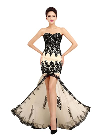 Molly Donne Scollo A Cuore Vestito In Pizzo Abito Da Sera 5XL Nero   Amazon.it  Abbigliamento 8cb9965cffc