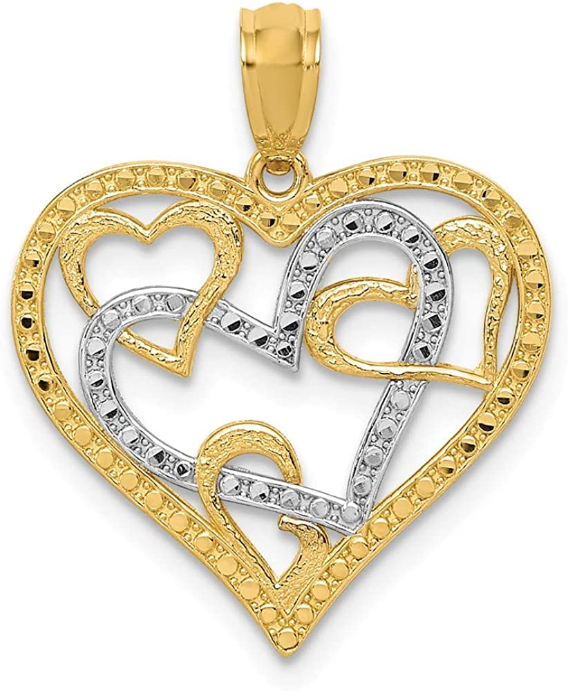 14K Two-Tone Gold Charm Pendant Themed 21 mm 19 /& White Rhodium Polished Beaded Hearts In Heart