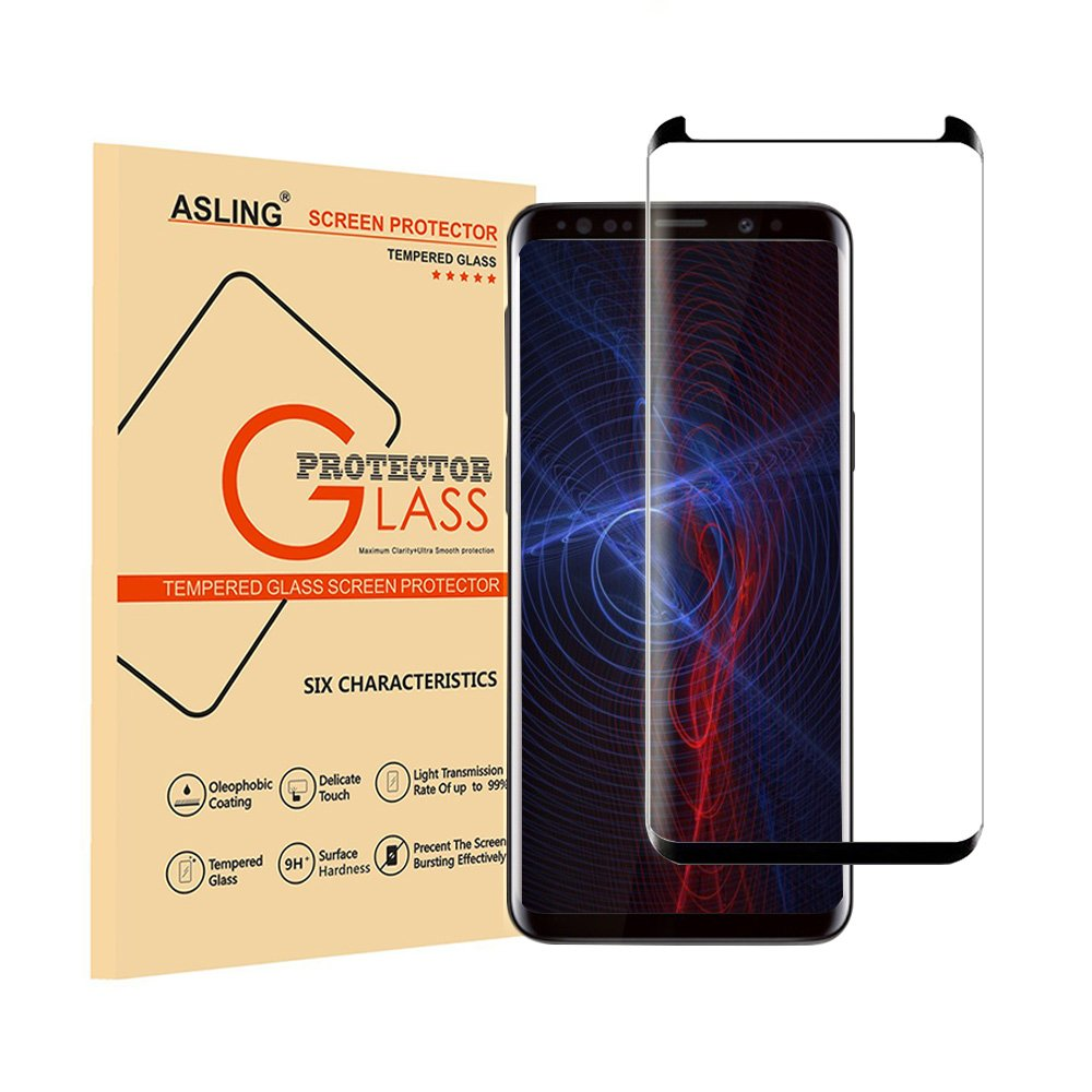 Galaxy s9 Plus Screen Protector Case Friendly, ASLING 3D Curved Tempered Glass High Sensitivity and Anti-fingerprint - Black