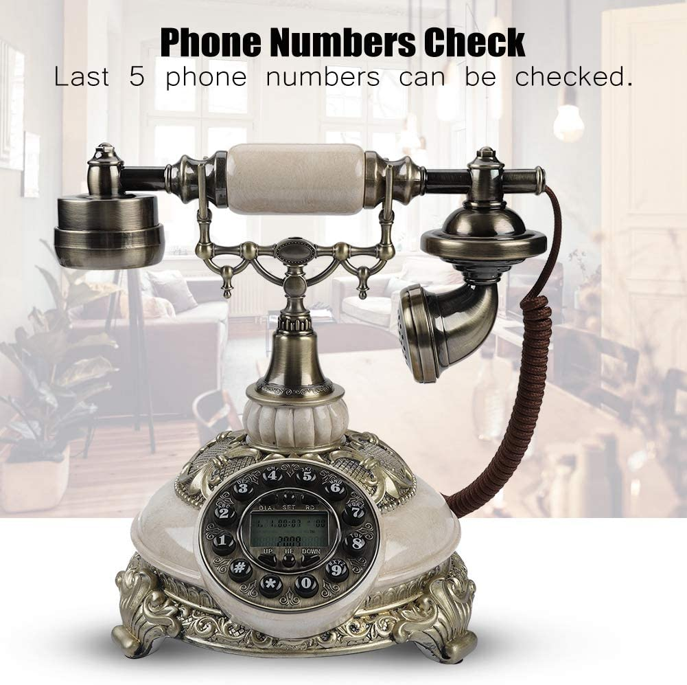 Retro Vintage Antique Landline Cored Telephone,Delicate Old Fashioned Tabletop FSK//DTMF Rotary Dial Phone with Caller Id,Real Time Diaplay//One-button Redial,Gift//Decoration//Collection for Office,Home