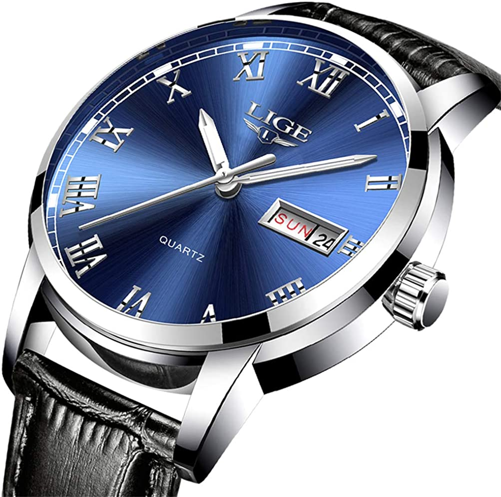 LIGE Watches Men Business Stainless Steel Quartz Analog Wrist Watch for Men Waterproof Date Chronograph Mens Watches Gents Fashion Casual Dress Sport Watch Gold Blue