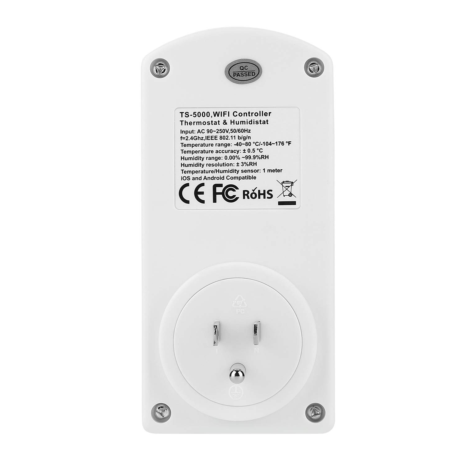 Maypott Wireless Smart Wifi Temperature & Humidity Controller with Mobile  Phone Remote Control,110V Electric Outlet Thermostat with Sensor,3 Prong