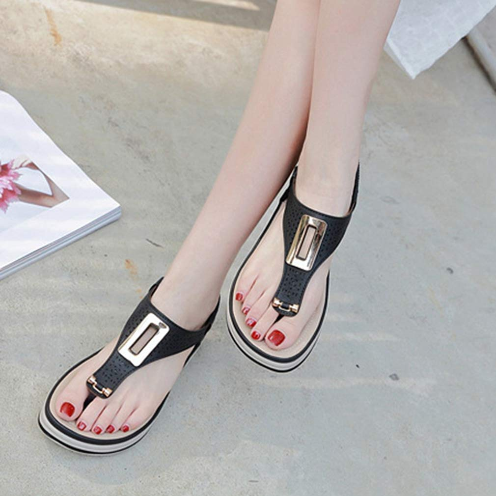 GIY Womens Summer Flat Sandals Shoes Metal Hollow T Strap Thong Shoes Ladies Strappy Flip Flop Shoes