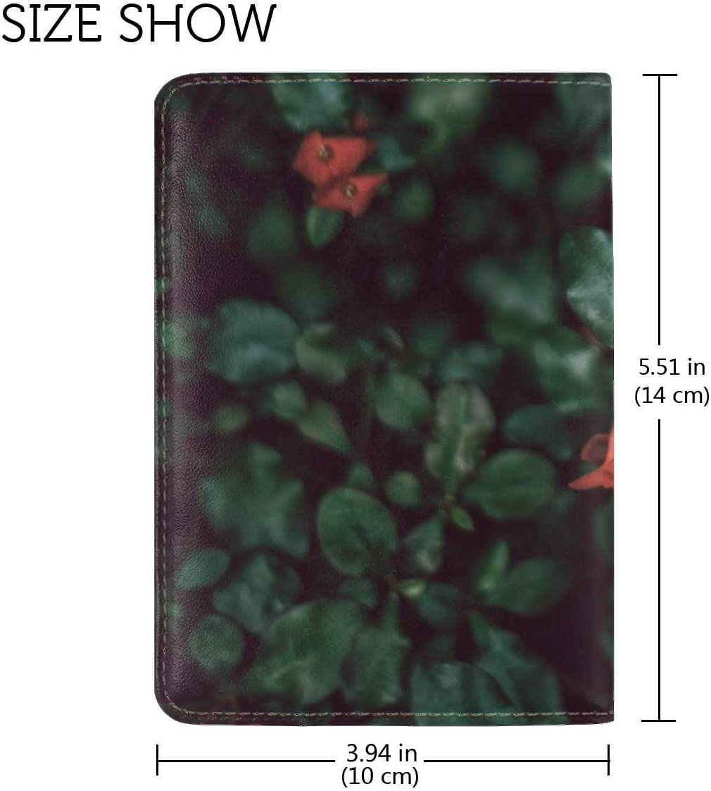 Bush Flowers Red Leather Passport Holder Cover Case Travel One Pocket