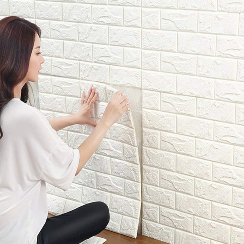 3D Brick Wall Stickers, White Brick Wallpaper, Waterproof Soundproof Self Adhesive Wall Stickers Wallpaper for Bedroom Living Room Background TV Decor 6060cm by YTAT YTATT