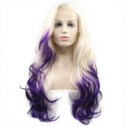 Peluca ondulada de pelo natural color rubio pastel morado fuego dos tonos resistente al calor mitad