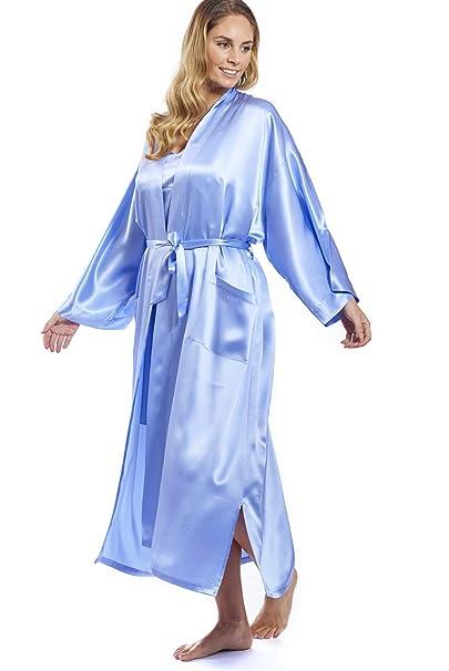 Jadee Edler Abrigo de Seda Kimono Casa Mujer Kimono Bata de Largo Rollo de Seda satén L de XXL Uni en 3 Colores: Amazon.es: Ropa y accesorios