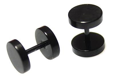 Pendientes unisex de imitación de dilataciones (acero inoxidable quirúrgico, 8 mm), color negro: Amazon.es: Joyería