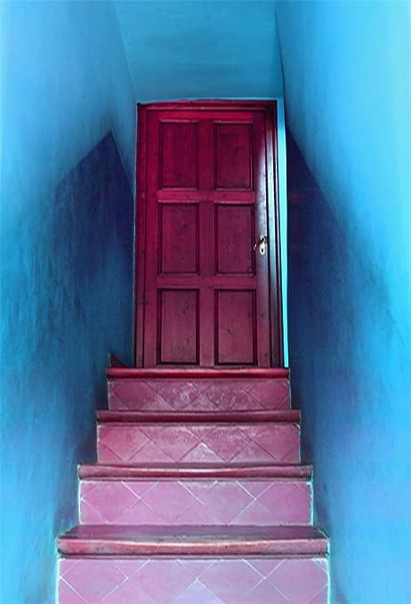 leowefowa 3 x 5ft fotografía telón de fondo vinilo fino fondo rojo puerta y piedra escaleras