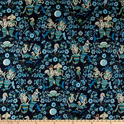 Fabric Henry Alexander (Alexander Henry Fabrics Esqueletos del Mar Skeletons Navy/Blue Fabric by the Yard)