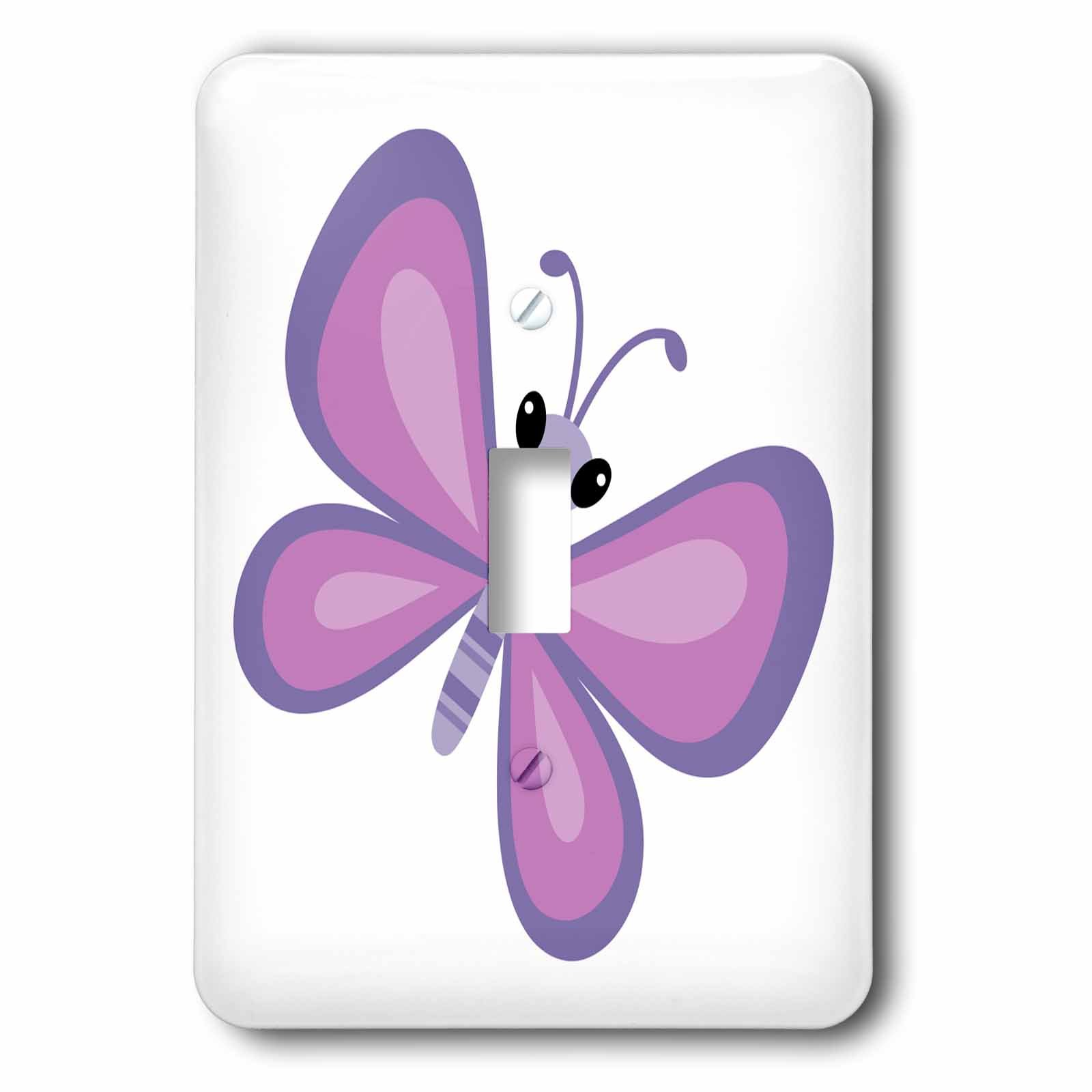 3dRose (lsp_224193_1) Cute Cartoon Butterfly Single Toggle Switch