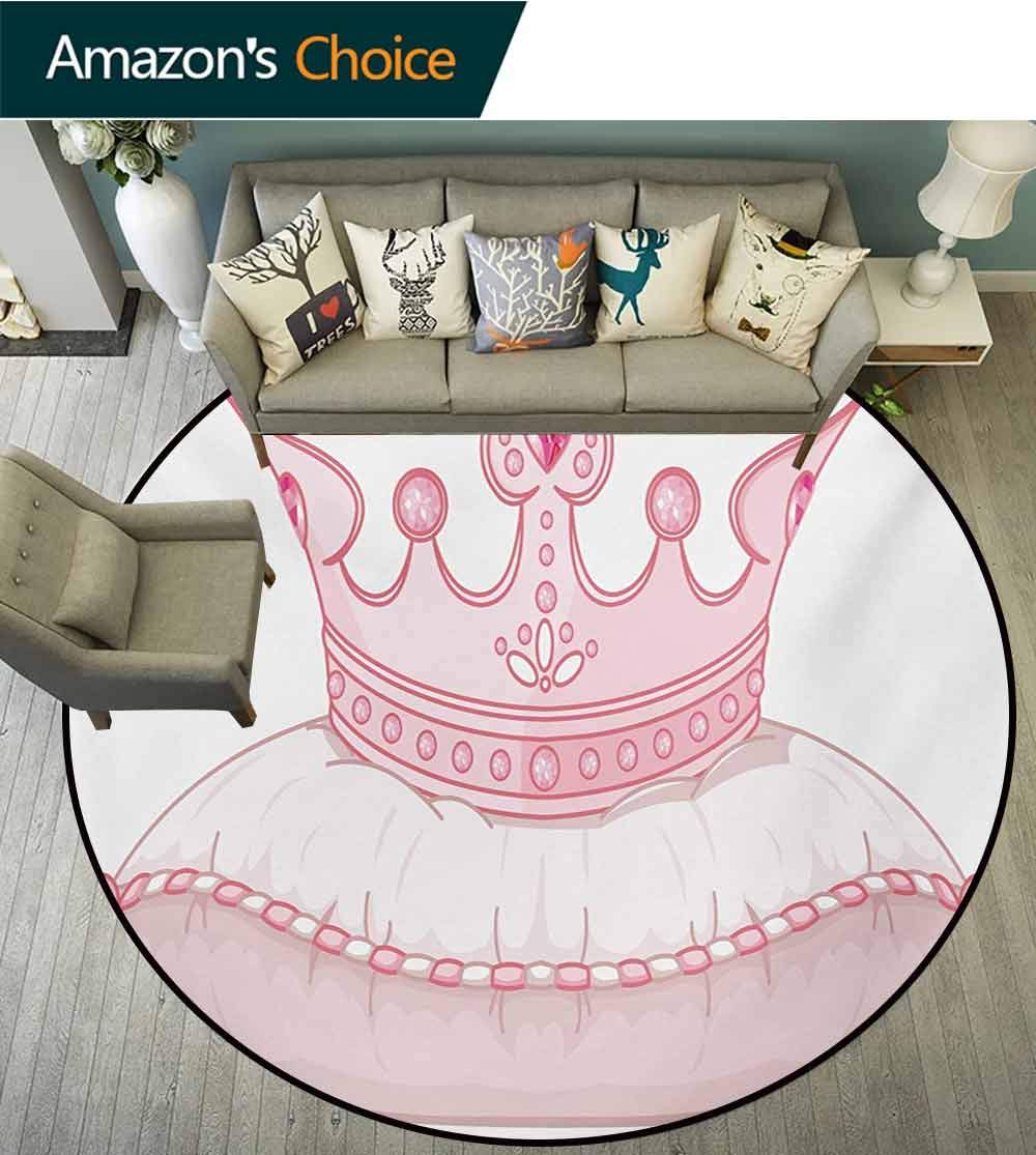 RUGSMAT Queen Modern Machine Washable Round Bath Mat,Cartoon Style Cute Pink Princess Crown On Pillow Fairy Tail Fantasy Girlish Fashion Non-Slip Soft Floor Mat Home Decor,Round-31 Inch by RUGSMAT (Image #2)