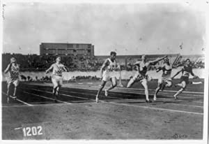 1928 Photo Olympic games at Amsterdam, Holland. The finish of the 100 meter dash finals, won by Percy Williams Left to right: Camcourier(?) Frank Wykoff, California; Robert F. McAllister, N.Y.; Jack L