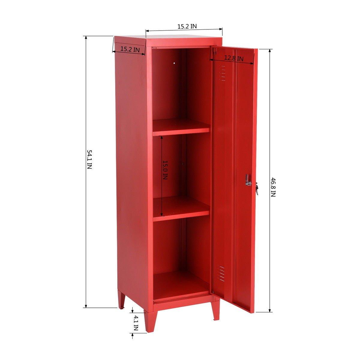 HouseinBox Office File Storage Metal Cabinet 3 Door Cupboard Locker Organizer Console Stand 3-in-1 (RED-Standing Locker) by HouseinBox (Image #4)