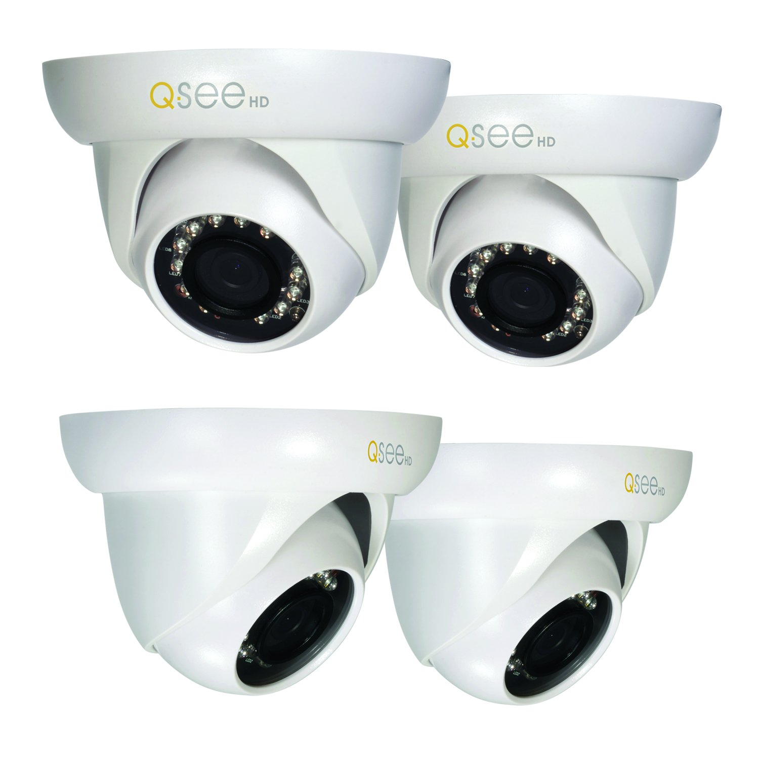Q-See QCA7202D-4 720p High Definition Analog, Plastic Housing, Dome Security Camera 4-Pack (White)
