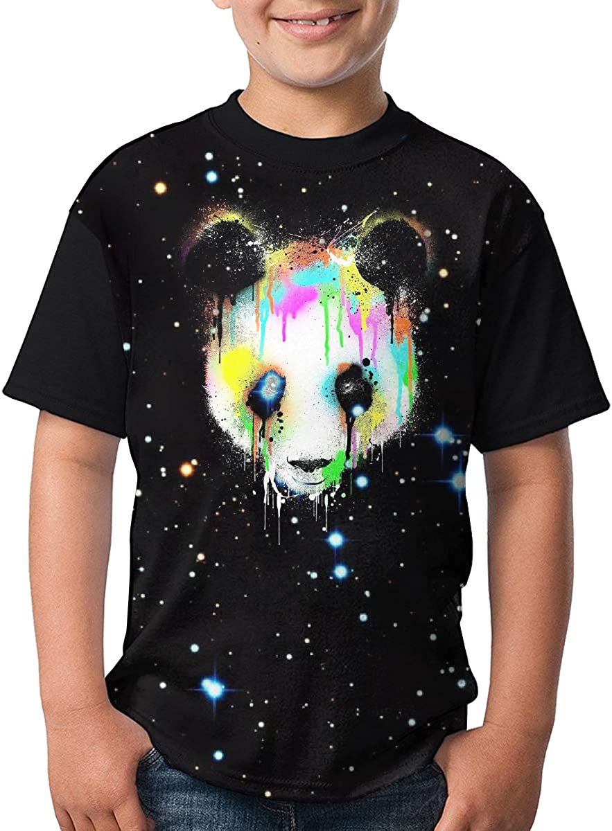 XUANBAO TEES Kids Youth Colorful Panda Face Customized Short Sleeve Tshirts Tee for Girls Black
