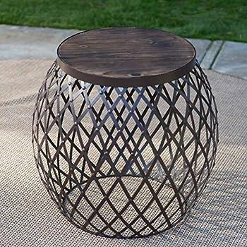 Amazon Com Industrial Rustic Brown Wood Metal Round Drum
