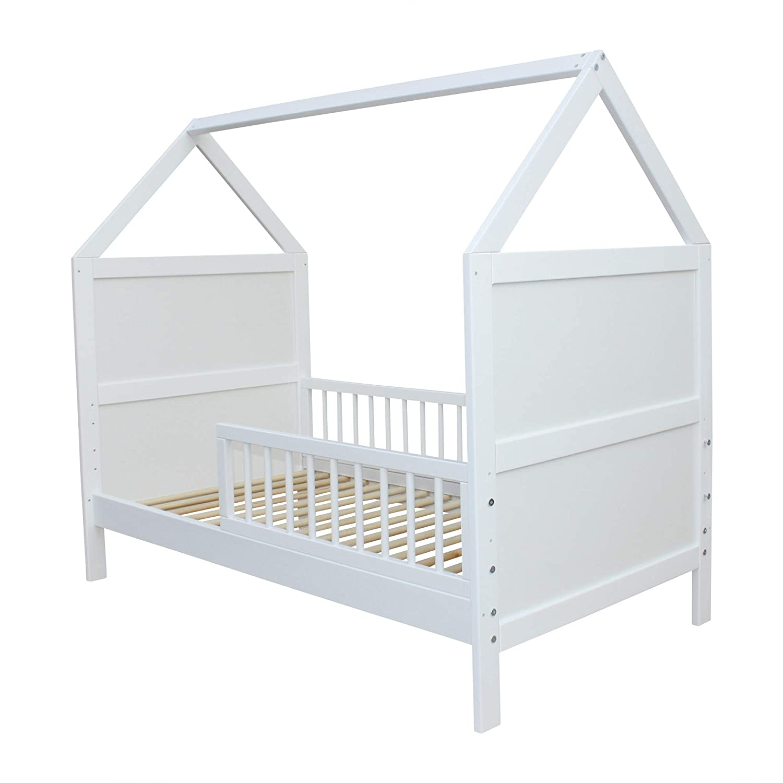 Babybett Kinderbett Juniorbett Bett Haus 140x70cm massiv weiss 0 bis 6 Jahren