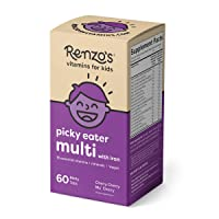 Renzo's Picky Eater Kids Multivitamin with Iron, Dissolvable Vegan Vitamins for...