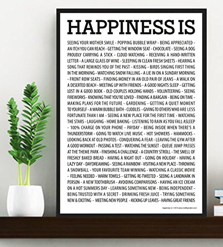 Happiness Is     Poster   Motivational Quote Print Art Picture   Size A3  420 X 297 Mm