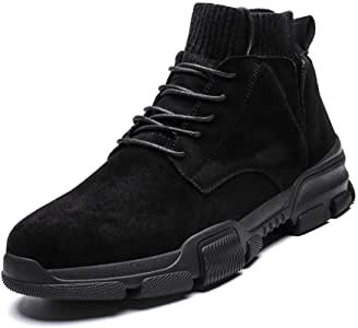 Men's Shoes-Combat Boots for Men Sport Shoes Round Toe Lace Up Suede Sewing Socks Collar Warm Comfort Lining Anti-Slip Breathable Short Tube (Color : Sand, Size : 41 EU)
