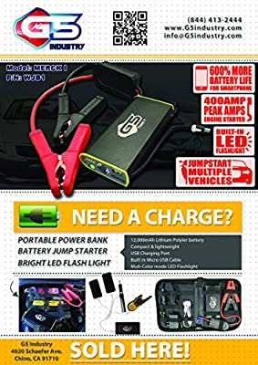 Mini Portable Car Jump Starter Power Bank w/12,000mAh Capacity - Supplies Car Battery w/Boost of 400 Amps - Features Multi COlor LED Light & USB Device Charging Ports by G5 Industry