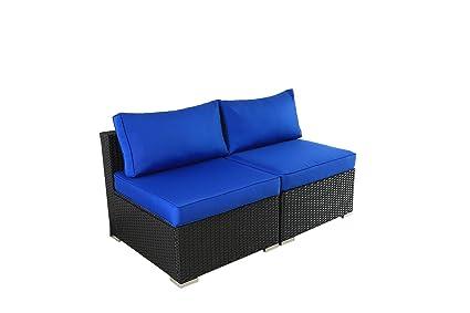 Amazon.com: Outime - Juego de 2 sofás de mimbre de ...