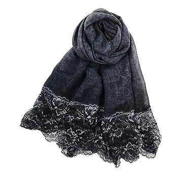 108ed0f8bd3 JUNGEN Écharpe en coton lin Foulard à motif floral en dentelle Châle Été  Plage Serviette solaire