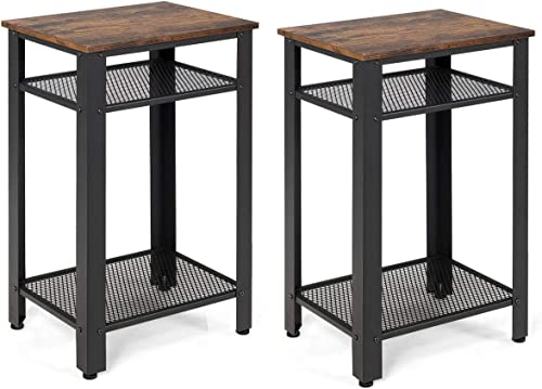Giantex Side Table Industrial 3-Tier W/Mesh Shelve