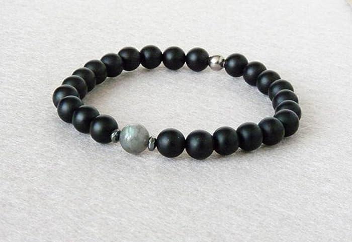 prix d'usine qualité-supérieure très convoité gamme de Bracelet Labradorite Homme, Bracelet Onyx Noir, Bracelet ...