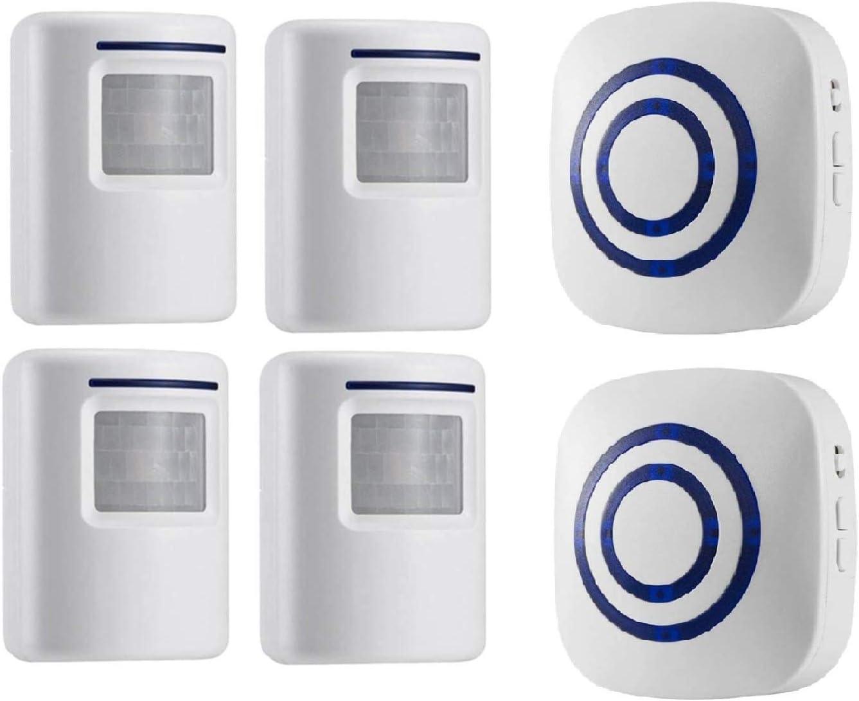 Alarma de Seguridad HommyFine Inal/ámbrico Timbre de Alarma para la Puerta con Sensor de Movimiento PIR Infrarrojo Detector de Timbre del Sensor Ideal para Tiendas Mercados y Familias
