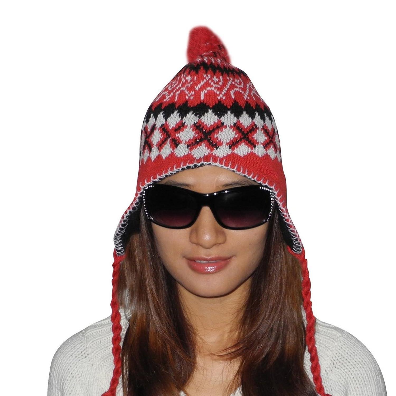 Ladies warm ski & skate fun tassel pom knit Hut / winter Hut