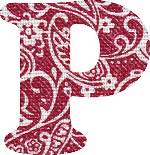 ペイズリー柄 生地 アルファベット P アップリケ レッド アイロン接着可能 大文字 coop (5cm)の商品画像