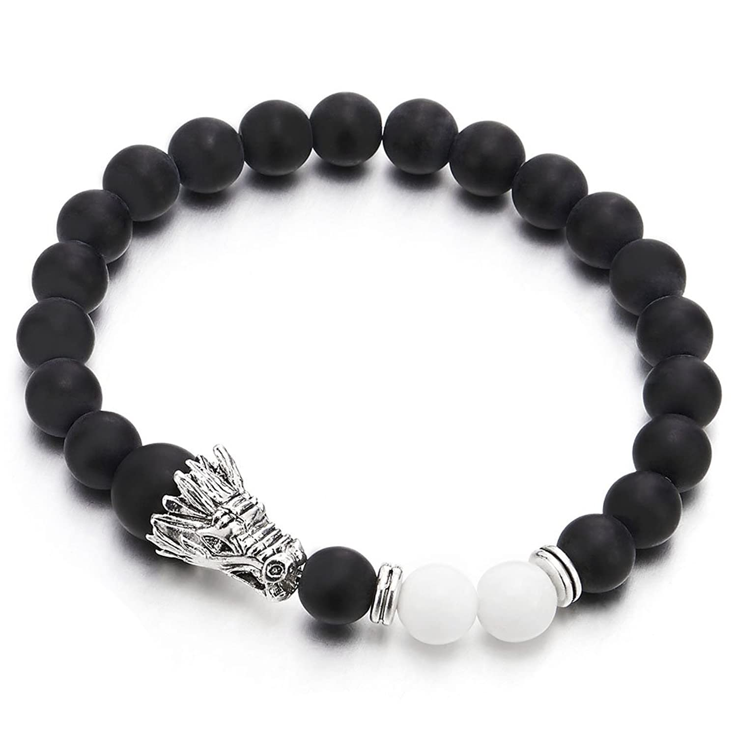 8MM Matt Black Onyx Beads Mens Wome Stretchable Bangle Bracelet with Dragon Head and White Beads Charm