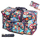 Womens Foldable Travel Duffel Bag 50L Large Cute Floral Travel Bag Hospital Bag Weekender Overnight Carry On Bag Checked Luggage Tote Bag For Girls Kids (cute flower)