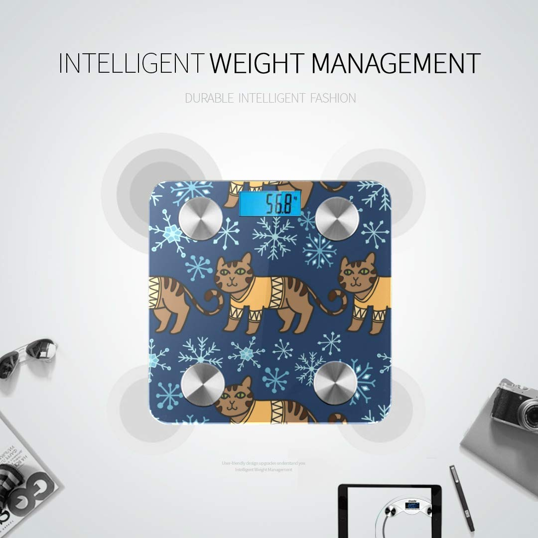 Bluetooth Body Fat Scale Adorable Christmas Cats Warm Sweaters Smart Wireless Scale with LCD Display Measuring Body Weight Bmi and Health Digital S by WHDKG