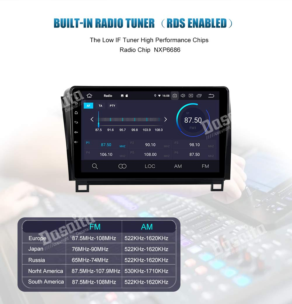 Dasaita 10 inch Large Screen Single Din Android 9.0 Car Stereo for Toyota Tundra 2007 to 2013 and Sequoia 2008 to 2018 Radio with GPS Navigation 4G Ram 64G ROM Built in DSP Dash Kit GPS Meomery Card