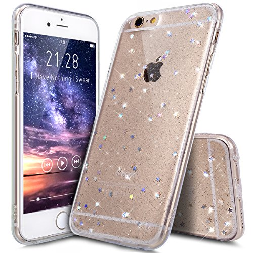 iPhone 6S Plus Case,iPhone 6 Plus Case,iPhone 6/6S Plus Case,ikasus Luxury Sparkle Star Bling Diamond Glitter Paillette Flexible Soft Rubber Gel TPU Protective Case for iPhone 6/6S Plus 5.5,Clear A