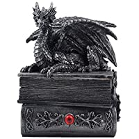 Mythical Guardian Dragon Trinket Box Statue with Hidden Book Storage Compartment for Decorative Gothic & Medieval Décor and Figurines As Jewelry Boxes or Fantasy Gifts for Office Study-Library