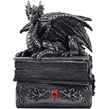Mythical Guardian Dragon Trinket Box Statue with Hidden Book Storage Compartment for Decorative Gothic & Medieval Home Decor Sculptures and Figurines As Jewelry Boxes or Magical Fantasy Gifts for Office Study Library by Home-n-Gifts