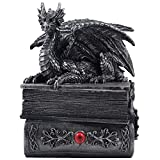 A fiery winged dragon crouches atop a pair of books, keeping a close guard over the treasures hidden within. Pewter look dragon statue does double-duty as it is also has a secret storage compartment within the books that can be used as a jewelry or t...