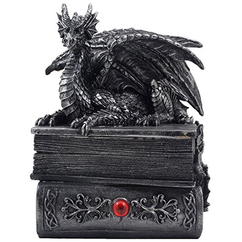 Mythical Guardian Dragon Trinket Box Statue with Hidden Book Storage Compartment for Decorative Gothic & Medieval Home Decor Sculptures and Figurines As Jewelry Boxes or Magical Fantasy Gifts for Office Study Library by Home-n-Gifts (Dragon compare prices)