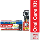 Colgate Total Charcoal Saver Pack Toothpaste (240gm) plus Colgate Toothbrush Slim Soft Charcoal (Buy 2 Get 1)